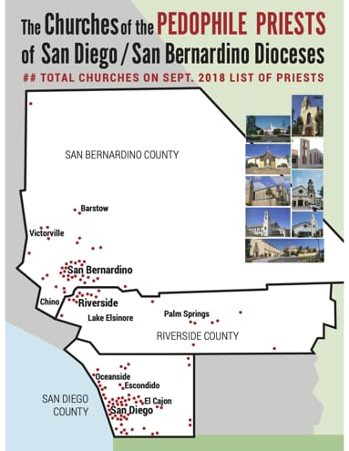 Map listing out pedophile priests in San Diego/San Bernardino Dioceses